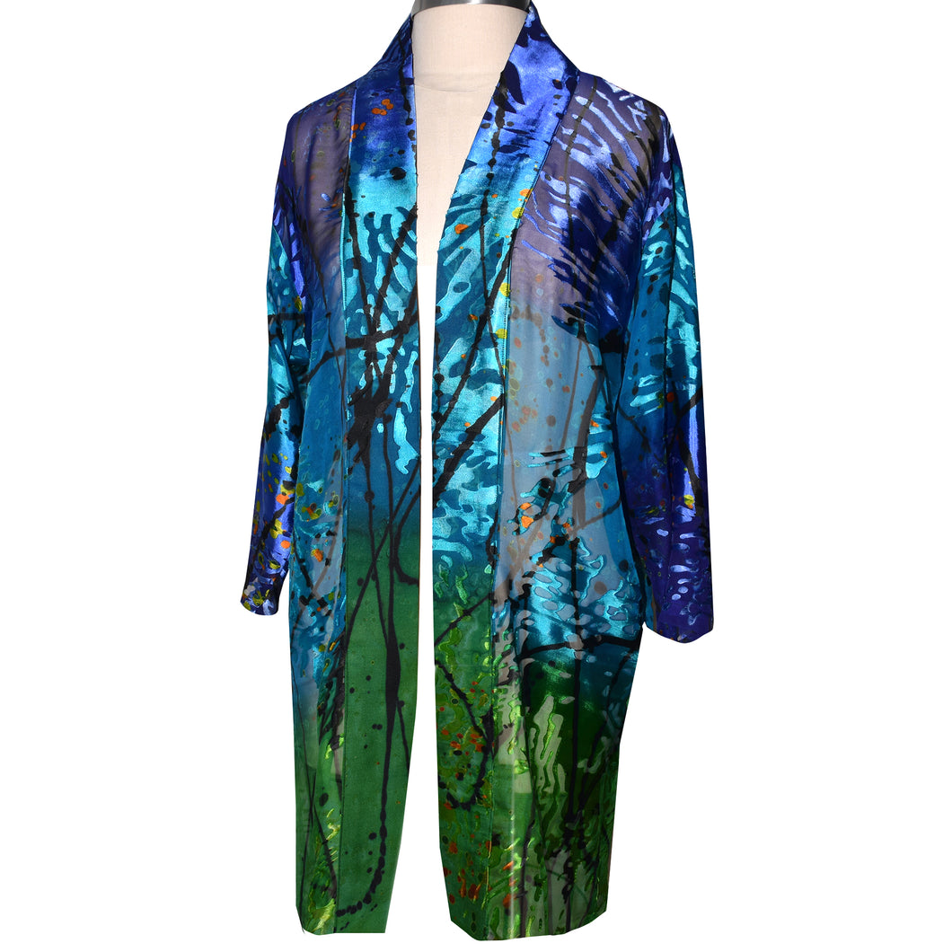 Luxurious Sheer Blue Green Print Painted Silk Devore Kimono Jacket