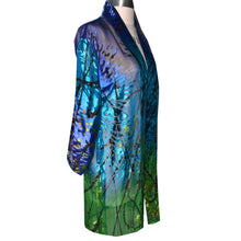 Load image into Gallery viewer, Luxurious Sheer Blue Green Print Painted Silk Devore Kimono Jacket