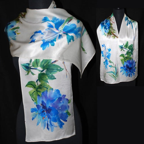 Royal Blue Floral Sumi-e Charmeuse Silk Scarf