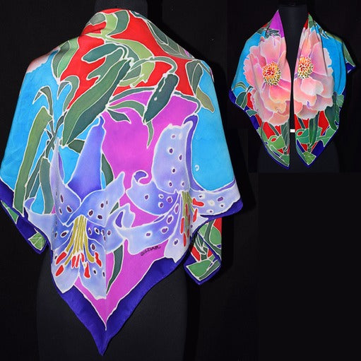 Handpainted Lily and Peony Square Crepe Silk Scarf