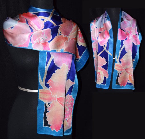 Orchids with Blue Border Charmeuse Silk Scarf