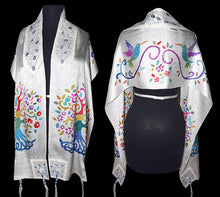 Load image into Gallery viewer, Tree of Life Handpainted Silk Jacquard Prayer Shawl Tallit