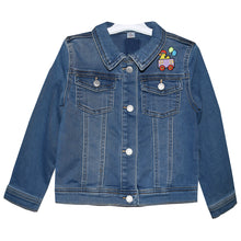 Load image into Gallery viewer, Child's Embroidered Train Denim Jeans Jacket 5T