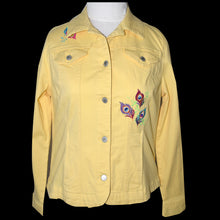 Load image into Gallery viewer, Embroidered Peacock Yellow Stretch Denim Jacket LG