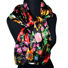Load image into Gallery viewer, One of a Kind Multicolor Floral Printed Charmeuse Reversible Silk Scarf