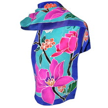 Load image into Gallery viewer, Hand Painted Floral on Turquoise Crepe de Chine Silk Scarf