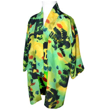 Load image into Gallery viewer, Lime Green Print Crepe de Chine Silk Kimono Jacket