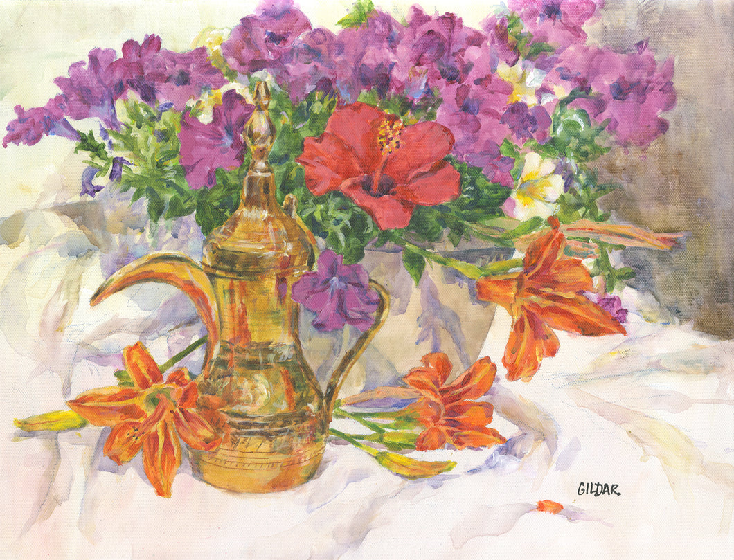 Coffee Urn with Flowers Acrylic Painting