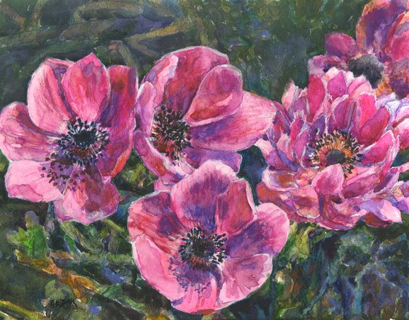 Anemones Pastel with Watercolor