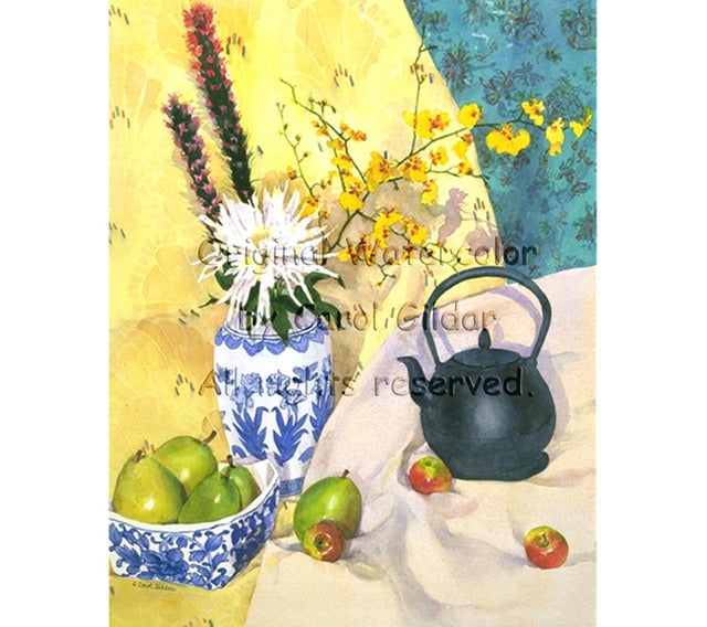 Oriental Tea with Pears Watercolor