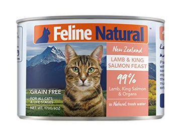 Feline Natural Cat Can Food Lamb & King Salmon Feast 6oz