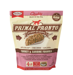 Primal Raw Dog Food Turkey & Sardine Pronto - 4lb