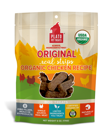 Plato Real Strips Organic Chicken Meat Bar Dog Treats - 18oz
