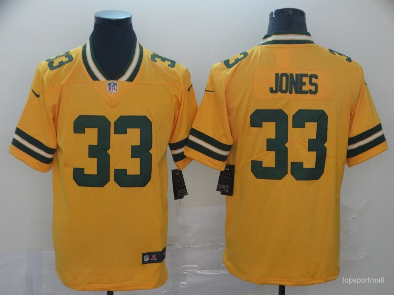 Men's Green Bay Packers Aaron Jones Yellow Player Game Jersey