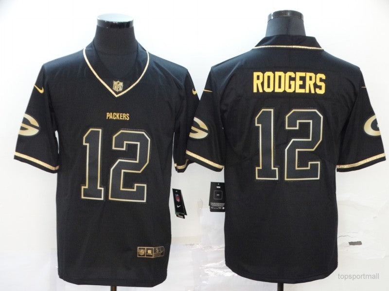 Men's Green Bay Packers Aaron Rodgers Black Game Player Jersey