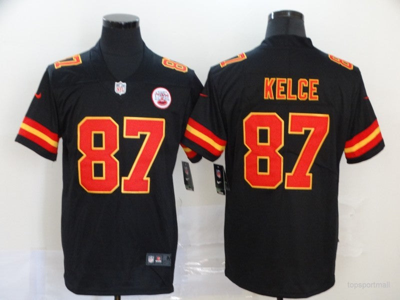 Men's Kansas City Chiefs Travis Kelce Black Game Player Jersey