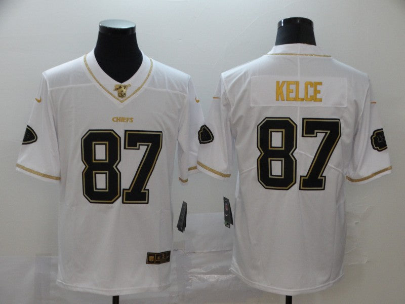 Men's Kansas City Chiefs Travis Kelce White and Black Game Player Jersey
