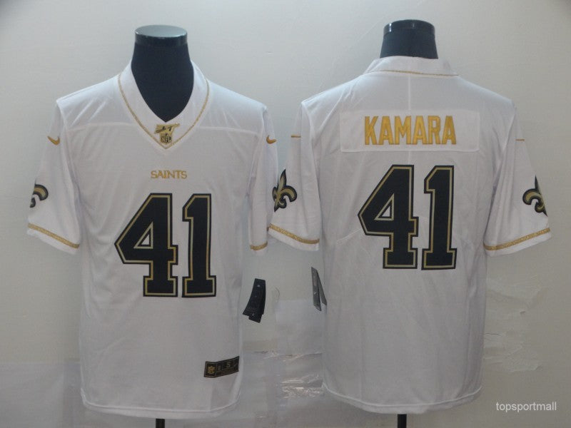 Men's New Orleans Saints Alvin Kamara White and Gold Outlines Game Jersey