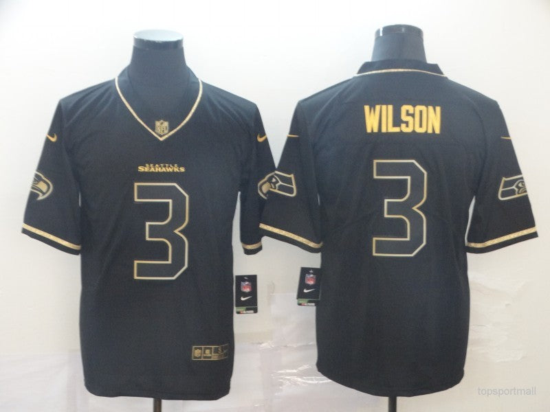 Men's Seattle Seahawks Russell Wilson Black Game Player Jersey