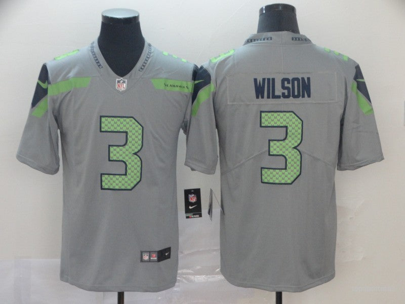 Men's Seattle Seahawks Russell Wilson Gray Game Player Jersey