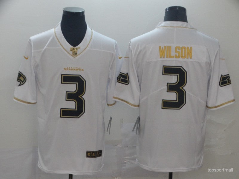 Men's Seattle Seahawks Russell Wilson White and Yellow Game Player Jersey