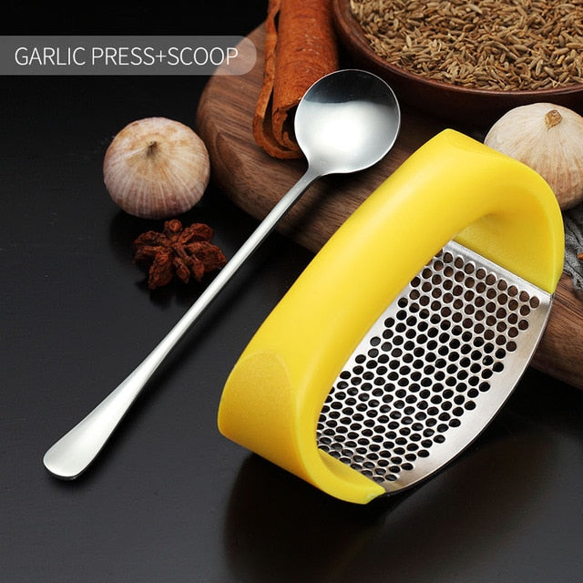 Stainless Steel Manual Garlic Chopper Crusher