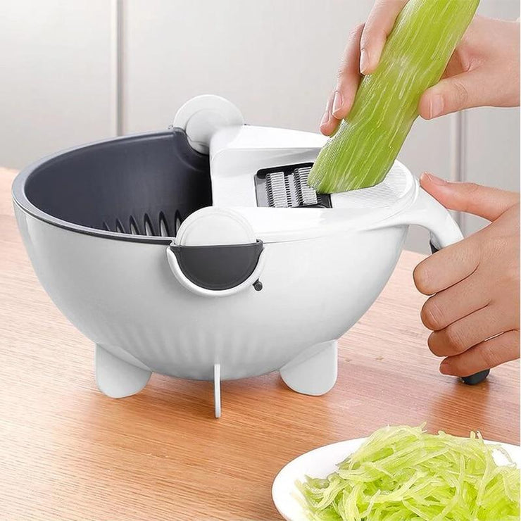 Multifunctional Rotate Vegetable Cutter With Drain Basket