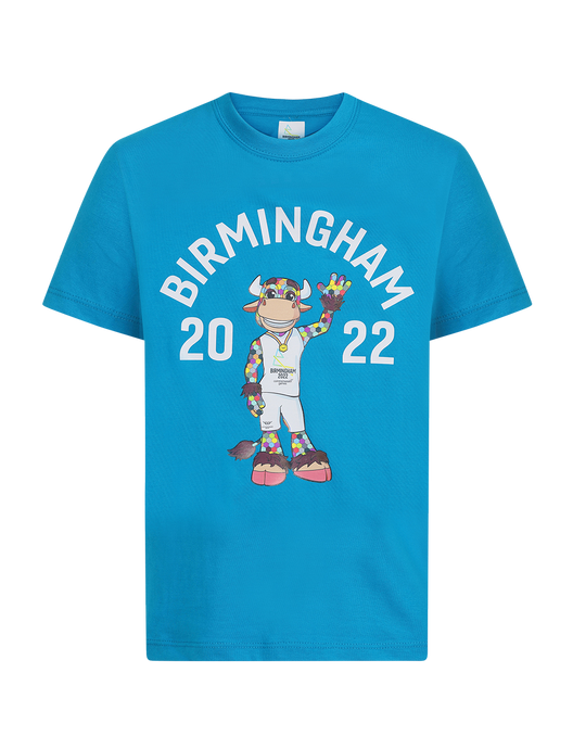 Perry Kids Canal Blue T-Shirt - Birmingham 2022 Commonwealth Games Shop