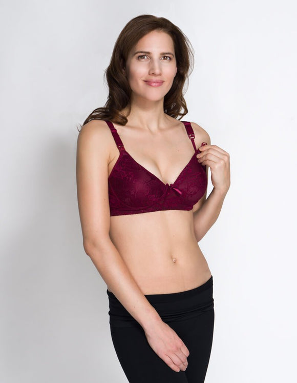 Burgundy Lace Nursing Bra