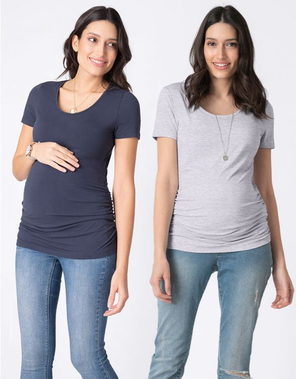 Basic Maternity T-Shirts – Navy & Grey Twin Pack