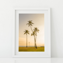 Load image into Gallery viewer, Palm Trees, Golden Sunset, Ocean, Grass, Waikiki, Oahu, Hawaii, Matted Phtoto Print, Image