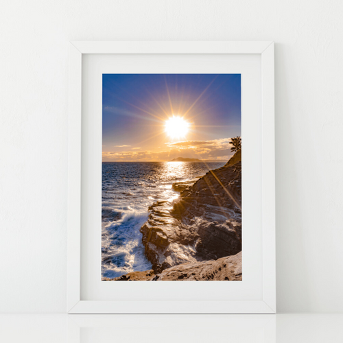 Lava rock cliffs, crashing ocean waves, Sunset, Diamond Head, Spitting Cave, Oahu, Hawaii, Matted Photo Print