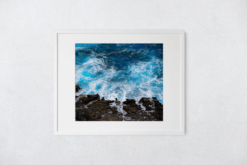 Cobalt blue sea, white frothy seafoam, lava rock, Halona Point, Oahu, Hawaii, Matted Phtot Print, Image