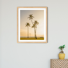 Load image into Gallery viewer, Palm Trees, Golden Sunset, Ocean, Grass, Waikiki, Oahu, Hawaii, Framed Matted Photo Print, Interior Entryway, Image