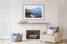Load image into Gallery viewer, Ocean Cove, Lava rocks, Wai'anae Mountain Range, Ka'ena Point, Oahu, Hawaii, Framed Matted Photo Print, Living Room Interior, Image