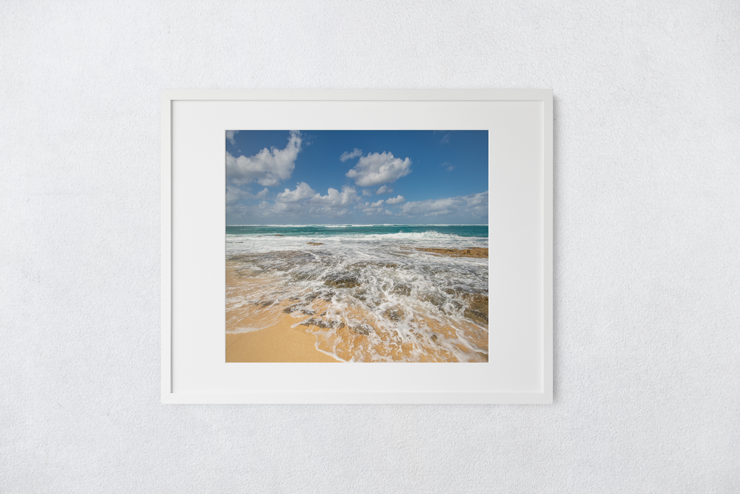 Blue sky, Puffy Clouds, Ocean, rocky shore, seafoam, North Shore, Beachscape, Oahu, Hawaii, Matted Photo Print, Image