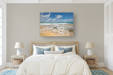 Load image into Gallery viewer, Blue sky, Puffy Clouds, Ocean, rocky shore, seafoam, North Shore, Beachscape, Oahu, Hawaii, Metal Art Print, Bedroom Interior, Image