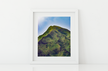 Load image into Gallery viewer, Camouflage green, Mountain, Blue Sky, Ko'olau Mountain Range, Oahu, Hawaii, Matted Photo Print, Image