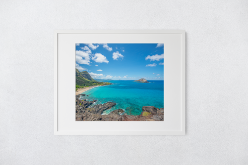 Makapu'u Lookout, Beach, Ko'olau Mountains, Rabbit Island, Blue Ocean, Clouds, Oahu, Hawaii, Matted Photo Print, Image