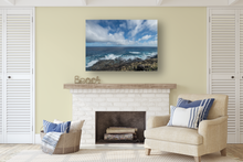 Load image into Gallery viewer, Lava Rock Mountainside, Crashing Waves, Puffy Clouds, Ocean, Sky, Oahu, Hawaii, Metal Art Print, Living Room Interior, Image