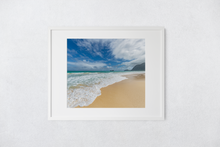Load image into Gallery viewer, Waimanalo Beach, Ocean, Sand, Blue Sky, Clouds, Oahu, Hawaii, Matted Photo Print, Image
