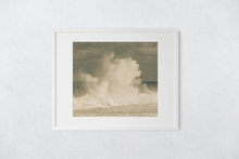 Load image into Gallery viewer, Giant Crashing Wave, Muted Tones, Cloudy Sky, Ocean, North Shore, Oahu, Hawaii, Matted Photo Print, Image