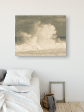 Load image into Gallery viewer, Giant Crashing Wave, Muted Tones, Cloudy Sky, Ocean, North Shore, Oahu, Hawaii, Metal Art Print, Bedroom Interior,  Image