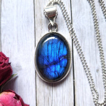 "Load image into Gallery viewer, ""It's a Felds-party!"": Blue Labradorite Necklace (E)"