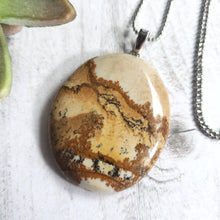 "Load image into Gallery viewer, ""Landscape Escape"": Picture Jasper Necklace with Mountain Design (A)"
