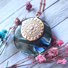 "Load image into Gallery viewer, ""Rainbow Rose"": Labradorite Necklace with Medallion Design (D)"