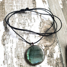 "Load image into Gallery viewer, ""Fire Festival"": Labradorite Necklace with Fire Painted Floating Bail (C)"