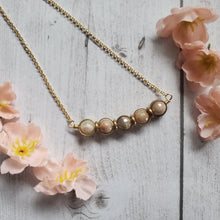 "Load image into Gallery viewer, ""Lunar Eclipse: Peach Moonstone Beaded Necklace"
