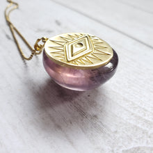 "Load image into Gallery viewer, ""Dome Scrolling"": Ametrine with Eye Design Necklace"