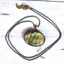 "Load image into Gallery viewer, ""A Flash of Color"": Labradorite Necklace with Mountain Design"